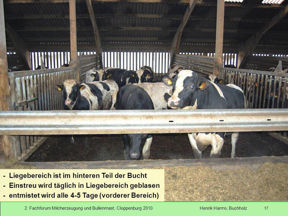 2. Fachforum Milcherzeugung und Bullenmast, Cloppenburg 2010 Henrik Harms, Buchholz 17 - Liegebereich ist im hinteren Teil der Bucht - Einstreu wird t