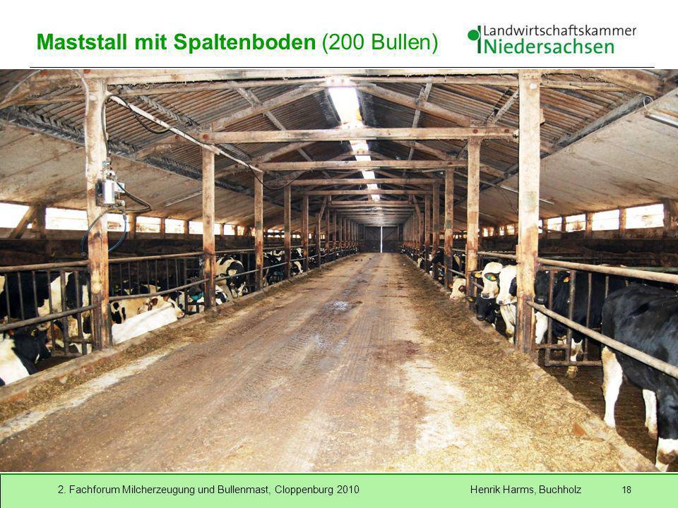 2. Fachforum Milcherzeugung und Bullenmast, Cloppenburg 2010 Henrik Harms, Buchholz 18 Maststall mit Spaltenboden (200 Bullen)