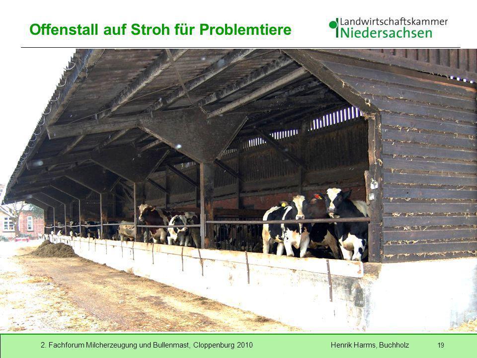 2. Fachforum Milcherzeugung und Bullenmast, Cloppenburg 2010 Henrik Harms, Buchholz 19 Offenstall auf Stroh für Problemtiere