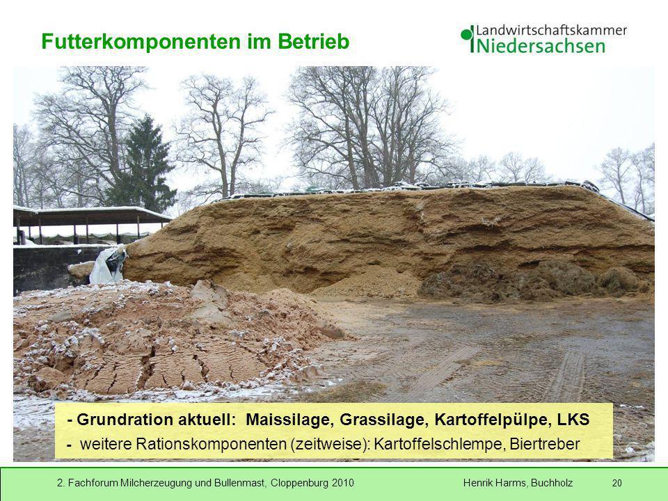 2. Fachforum Milcherzeugung und Bullenmast, Cloppenburg 2010 Henrik Harms, Buchholz 20 - Grundration aktuell: Maissilage, Grassilage, Kartoffelpülpe,