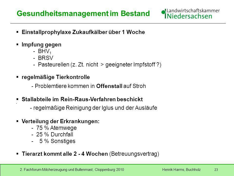 2. Fachforum Milcherzeugung und Bullenmast, Cloppenburg 2010 Henrik Harms, Buchholz 23 Gesundheitsmanagement im Bestand Einstallprophylaxe Zukaufkälbe