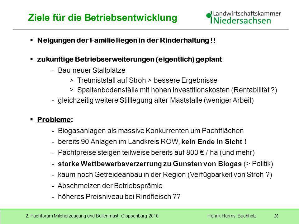 2. Fachforum Milcherzeugung und Bullenmast, Cloppenburg 2010 Henrik Harms, Buchholz 26 Ziele für die Betriebsentwicklung Neigungen der Familie liegen