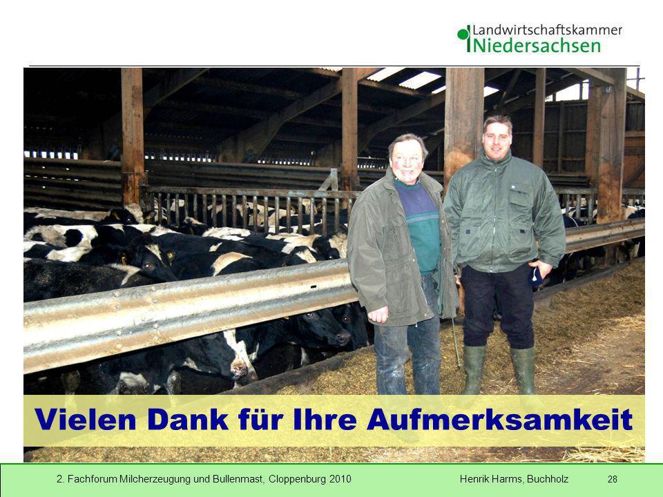 2. Fachforum Milcherzeugung und Bullenmast, Cloppenburg 2010 Henrik Harms, Buchholz 28 Vielen Dank für Ihre Aufmerksamkeit