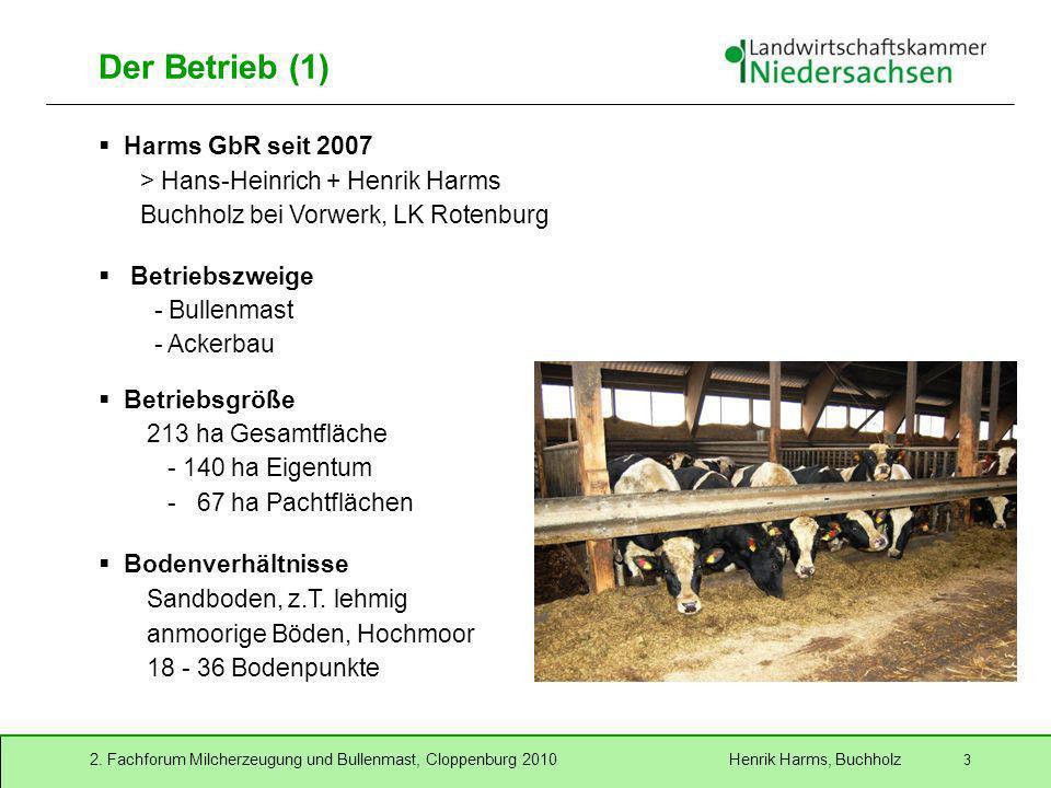 2. Fachforum Milcherzeugung und Bullenmast, Cloppenburg 2010 Henrik Harms, Buchholz 3 Der Betrieb (1) Harms GbR seit 2007 > Hans-Heinrich + Henrik Har