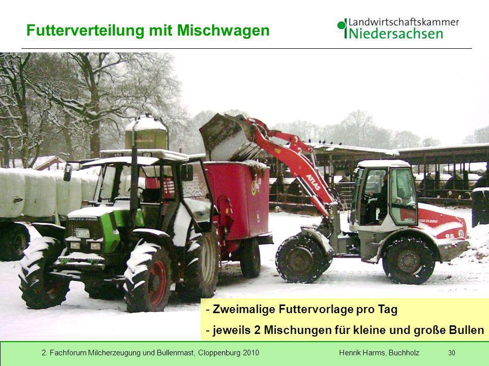 2. Fachforum Milcherzeugung und Bullenmast, Cloppenburg 2010 Henrik Harms, Buchholz 30 Futterverteilung mit Mischwagen - Zweimalige Futtervorlage pro
