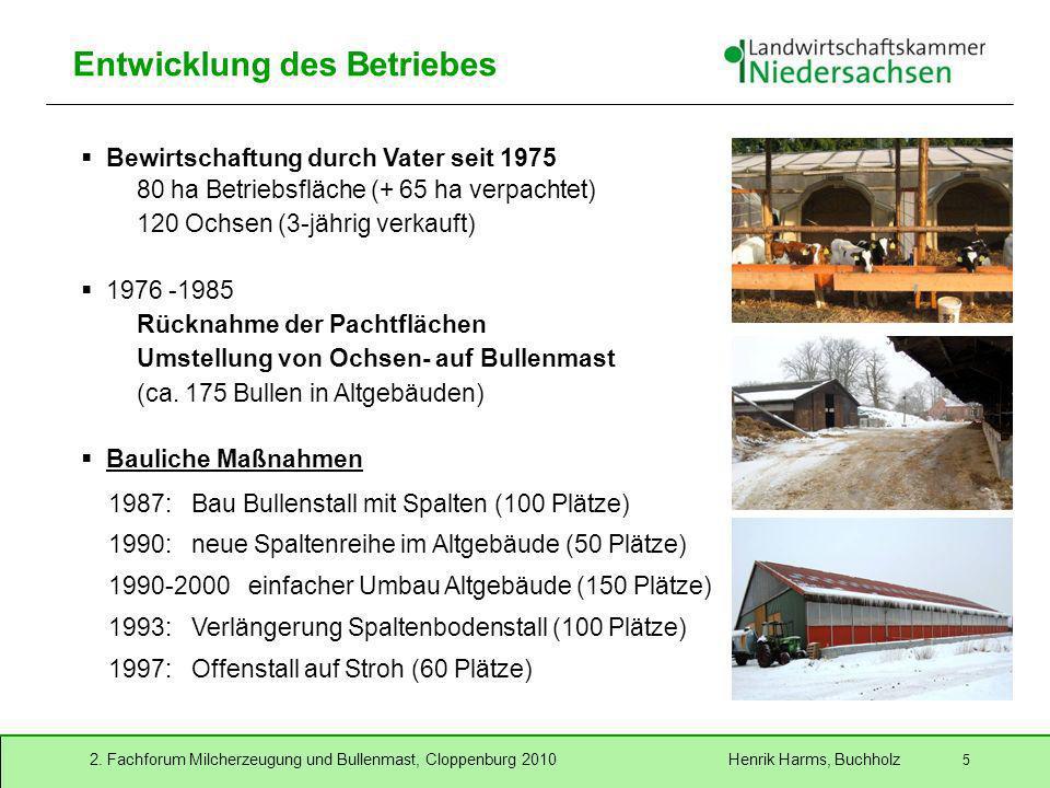 2. Fachforum Milcherzeugung und Bullenmast, Cloppenburg 2010 Henrik Harms, Buchholz 5 Entwicklung des Betriebes Bewirtschaftung durch Vater seit 1975