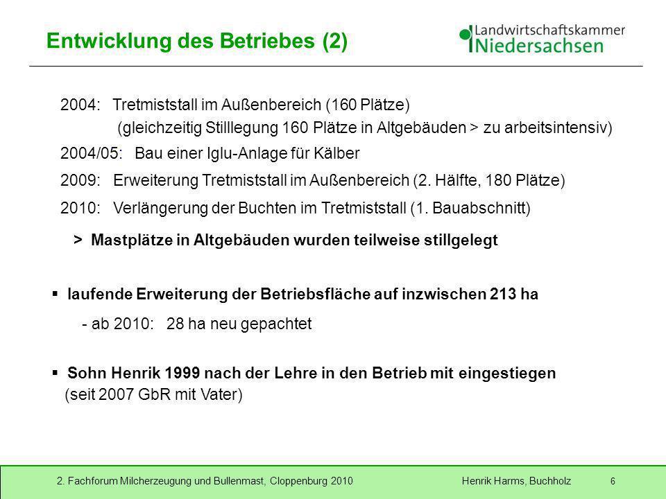 2. Fachforum Milcherzeugung und Bullenmast, Cloppenburg 2010 Henrik Harms, Buchholz 6 Entwicklung des Betriebes (2) 2004: Tretmiststall im Außenbereic