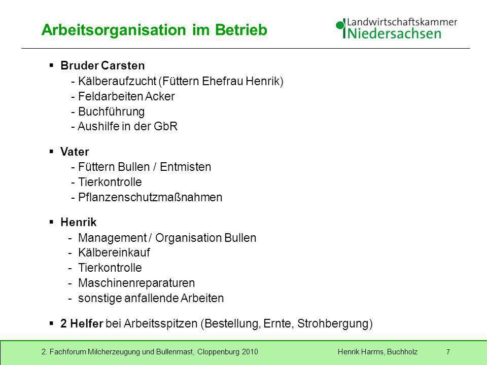 2. Fachforum Milcherzeugung und Bullenmast, Cloppenburg 2010 Henrik Harms, Buchholz 7 Arbeitsorganisation im Betrieb Bruder Carsten - Kälberaufzucht (