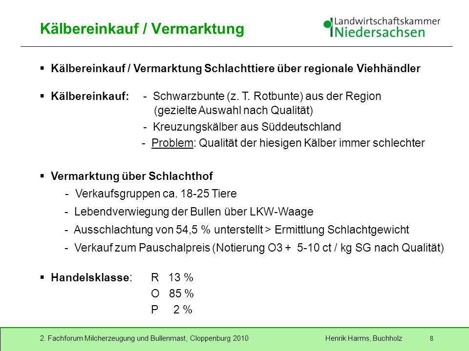 2. Fachforum Milcherzeugung und Bullenmast, Cloppenburg 2010 Henrik Harms, Buchholz 8 Kälbereinkauf / Vermarktung Kälbereinkauf / Vermarktung Schlacht
