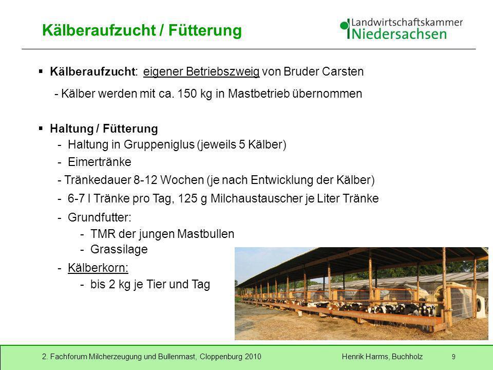 2. Fachforum Milcherzeugung und Bullenmast, Cloppenburg 2010 Henrik Harms, Buchholz 9 Kälberaufzucht / Fütterung Haltung / Fütterung - Haltung in Grup