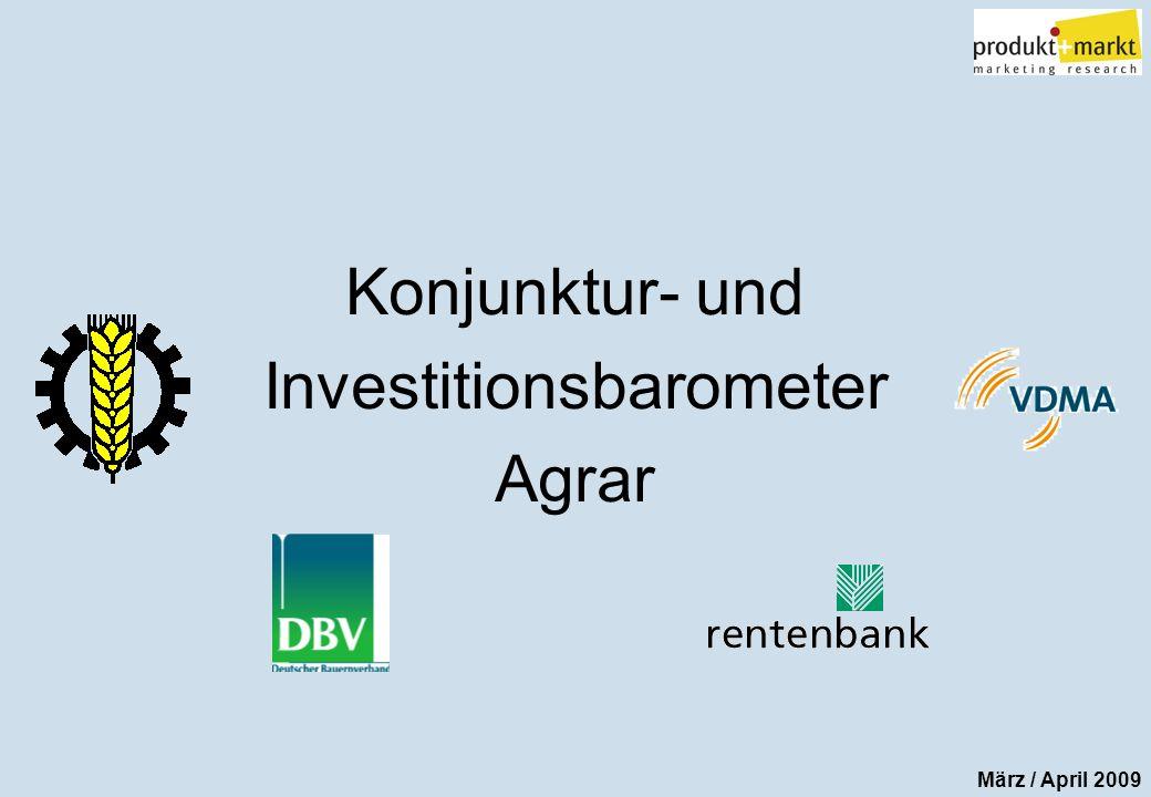 Konjunktur- und Investi- tionsbarometer Agrar März / April 09 2 Konjunkturbarometer Agrar Der Index wird errechnet aus der Beurteilung der aktuellen wirtschaftlichen Situation und der Zukunftserwartung der deutschen Landwirte Mittel 2000 - 2006 20012002200320042005200620072000 2008