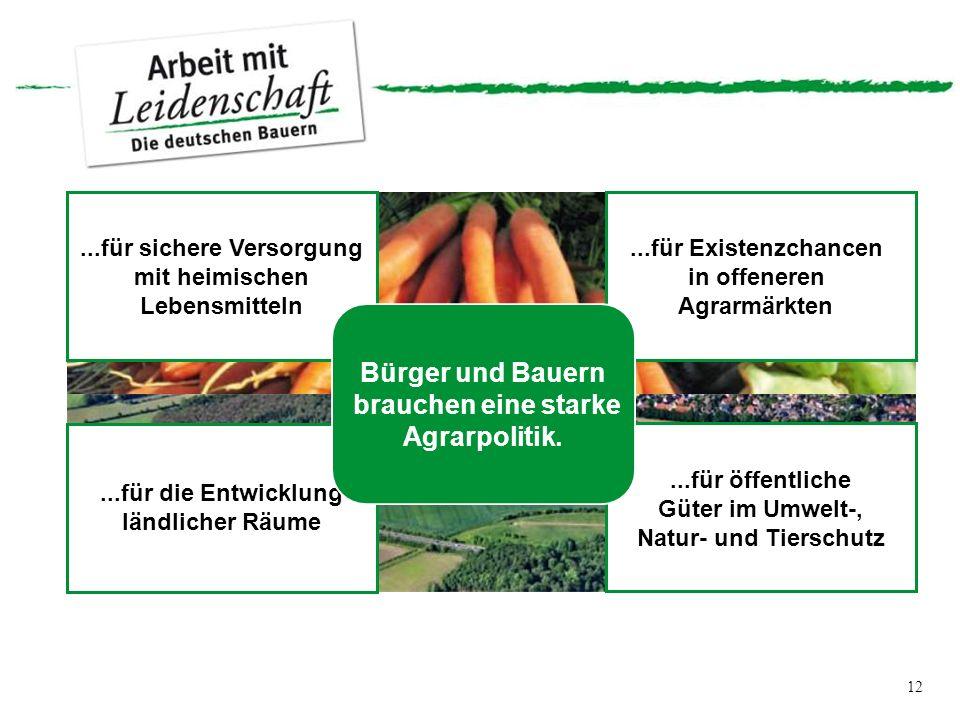 12...für sichere Versorgung mit heimischen Lebensmitteln...für Existenzchancen in offeneren Agrarmärkten...für die Entwicklung ländlicher Räume...für öffentliche Güter im Umwelt-, Natur- und Tierschutz Bürger und Bauern brauchen eine starke Agrarpolitik.