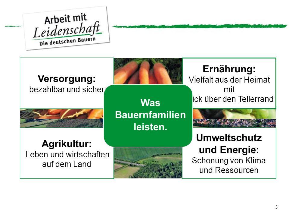 3 Versorgung: bezahlbar und sicher Ernährung: Vielfalt aus der Heimat mit Blick über den Tellerrand Agrikultur: Leben und wirtschaften auf dem Land Umweltschutz und Energie: Schonung von Klima und Ressourcen Was Bauernfamilien leisten.