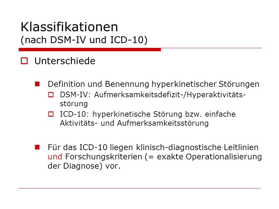 Klassifikationen (nach DSM-IV und ICD-10) Unterschiede Definition und Benennung hyperkinetischer Störungen DSM-IV: Aufmerksamkeitsdefizit-/Hyperaktivitäts- störung ICD-10: hyperkinetische Störung bzw.