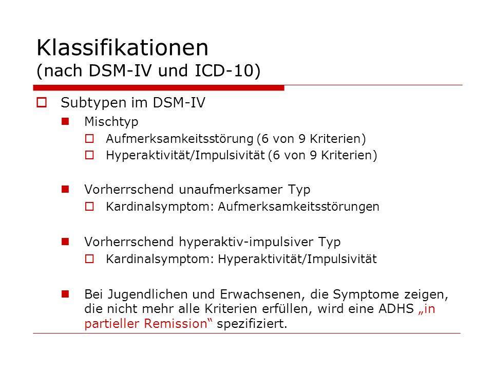 Klassifikationen (nach DSM-IV und ICD-10) Subtypen im DSM-IV Mischtyp Aufmerksamkeitsstörung (6 von 9 Kriterien) Hyperaktivität/Impulsivität (6 von 9 Kriterien) Vorherrschend unaufmerksamer Typ Kardinalsymptom: Aufmerksamkeitsstörungen Vorherrschend hyperaktiv-impulsiver Typ Kardinalsymptom: Hyperaktivität/Impulsivität Bei Jugendlichen und Erwachsenen, die Symptome zeigen, die nicht mehr alle Kriterien erfüllen, wird eine ADHS in partieller Remission spezifiziert.