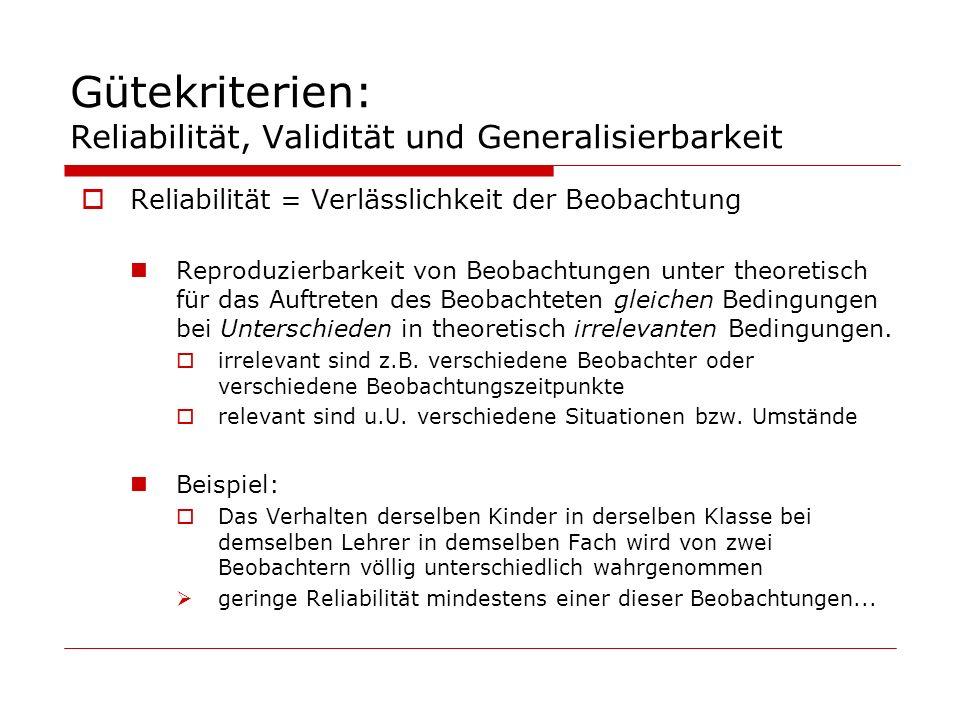 Gütekriterien: Reliabilität, Validität und Generalisierbarkeit Reliabilität = Verlässlichkeit der Beobachtung Reproduzierbarkeit von Beobachtungen unt