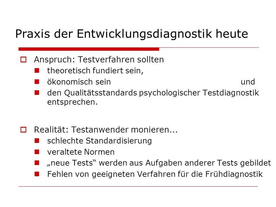 Praxis der Entwicklungsdiagnostik heute Anspruch: Testverfahren sollten theoretisch fundiert sein, ökonomisch seinund den Qualitätsstandards psycholog