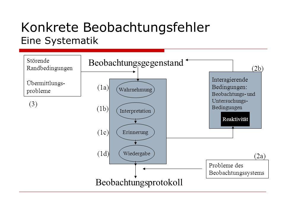 Konkrete Beobachtungsfehler Eine Systematik Wahrnehmung Interpretation Erinnerung Wiedergabe Beobachtungsprotokoll Beobachtungsgegenstand Interagieren