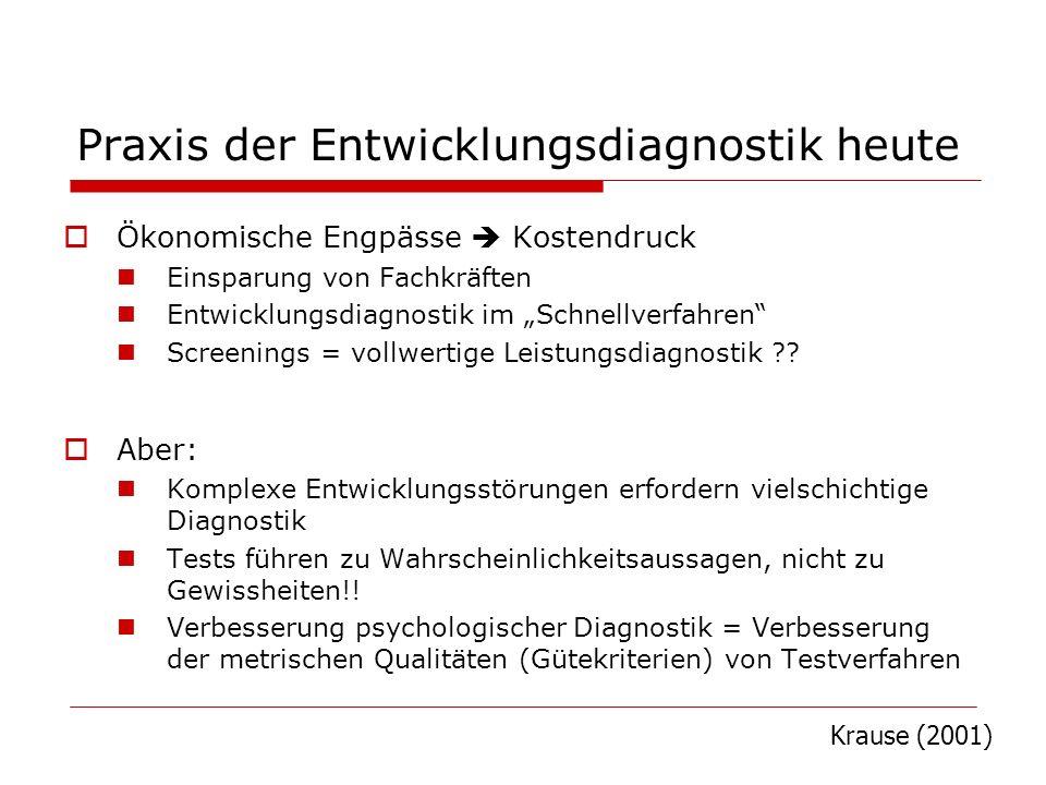Praxis der Entwicklungsdiagnostik heute Ökonomische Engpässe Kostendruck Einsparung von Fachkräften Entwicklungsdiagnostik im Schnellverfahren Screeni