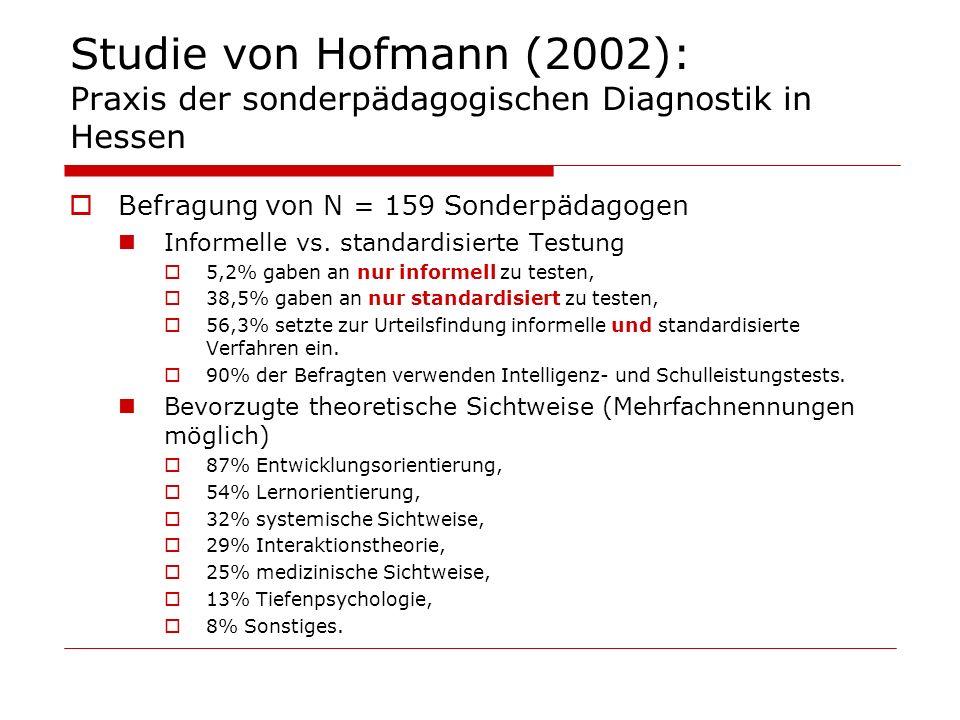 Studie von Hofmann (2002): Praxis der sonderpädagogischen Diagnostik in Hessen Befragung von N = 159 Sonderpädagogen Informelle vs. standardisierte Te