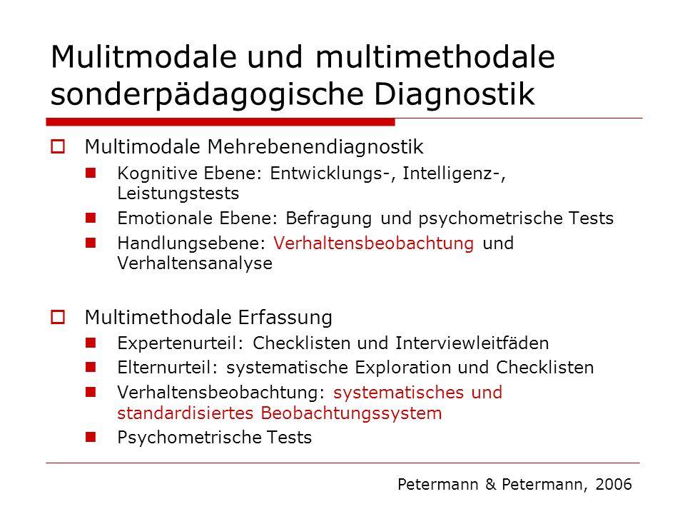 Mulitmodale und multimethodale sonderpädagogische Diagnostik Multimodale Mehrebenendiagnostik Kognitive Ebene: Entwicklungs-, Intelligenz-, Leistungst