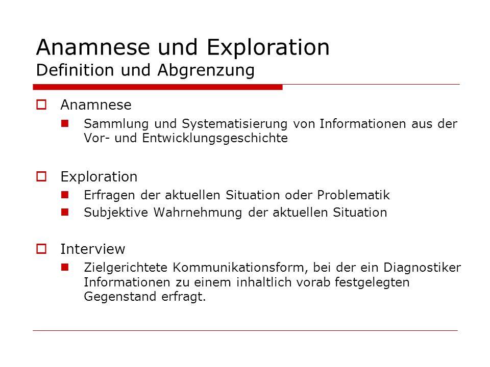 Anamnese und Exploration Definition und Abgrenzung Anamnese Sammlung und Systematisierung von Informationen aus der Vor- und Entwicklungsgeschichte Ex