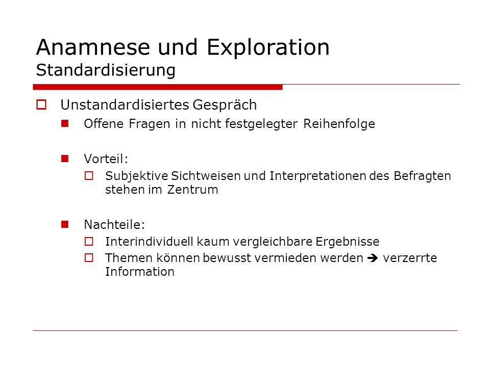 Anamnese und Exploration Standardisierung Unstandardisiertes Gespräch Offene Fragen in nicht festgelegter Reihenfolge Vorteil: Subjektive Sichtweisen
