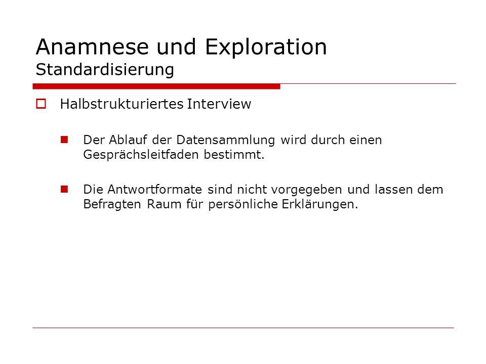 Anamnese und Exploration Standardisierung Halbstrukturiertes Interview Der Ablauf der Datensammlung wird durch einen Gesprächsleitfaden bestimmt. Die