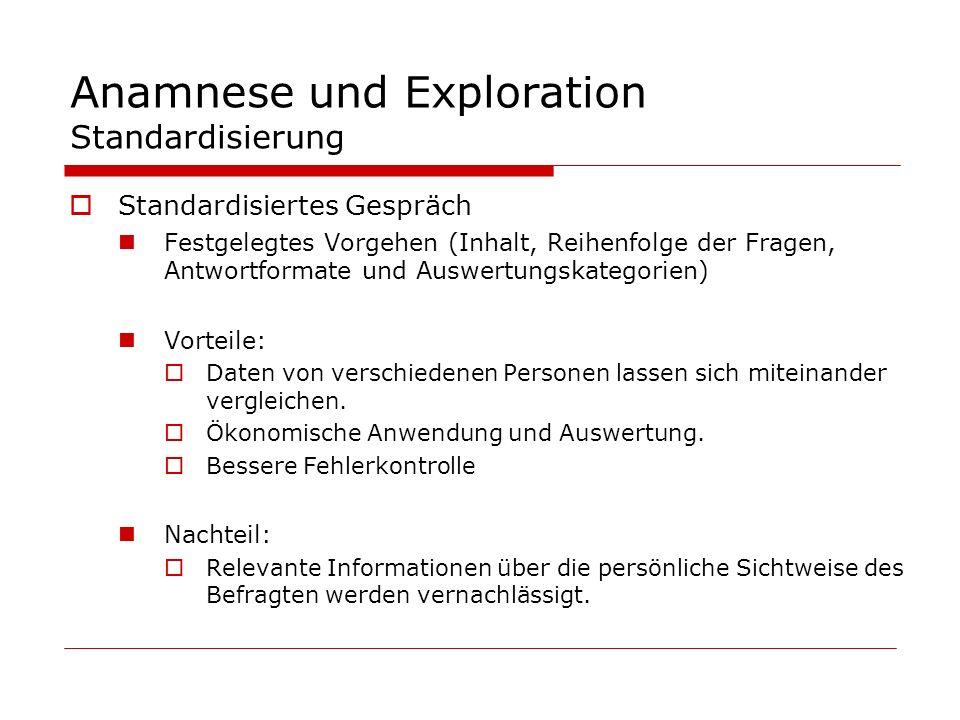 Anamnese und Exploration Standardisierung Standardisiertes Gespräch Festgelegtes Vorgehen (Inhalt, Reihenfolge der Fragen, Antwortformate und Auswertu
