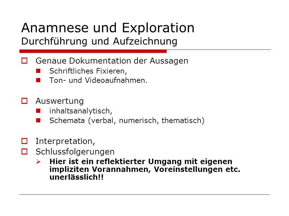 Anamnese und Exploration Durchführung und Aufzeichnung Genaue Dokumentation der Aussagen Schriftliches Fixieren, Ton- und Videoaufnahmen. Auswertung i