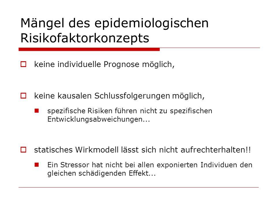 Mängel des epidemiologischen Risikofaktorkonzepts keine individuelle Prognose möglich, keine kausalen Schlussfolgerungen möglich, spezifische Risiken