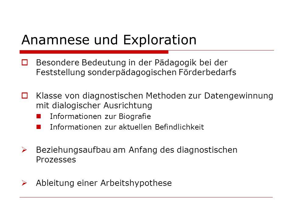 Anamnese und Exploration Besondere Bedeutung in der Pädagogik bei der Feststellung sonderpädagogischen Förderbedarfs Klasse von diagnostischen Methode