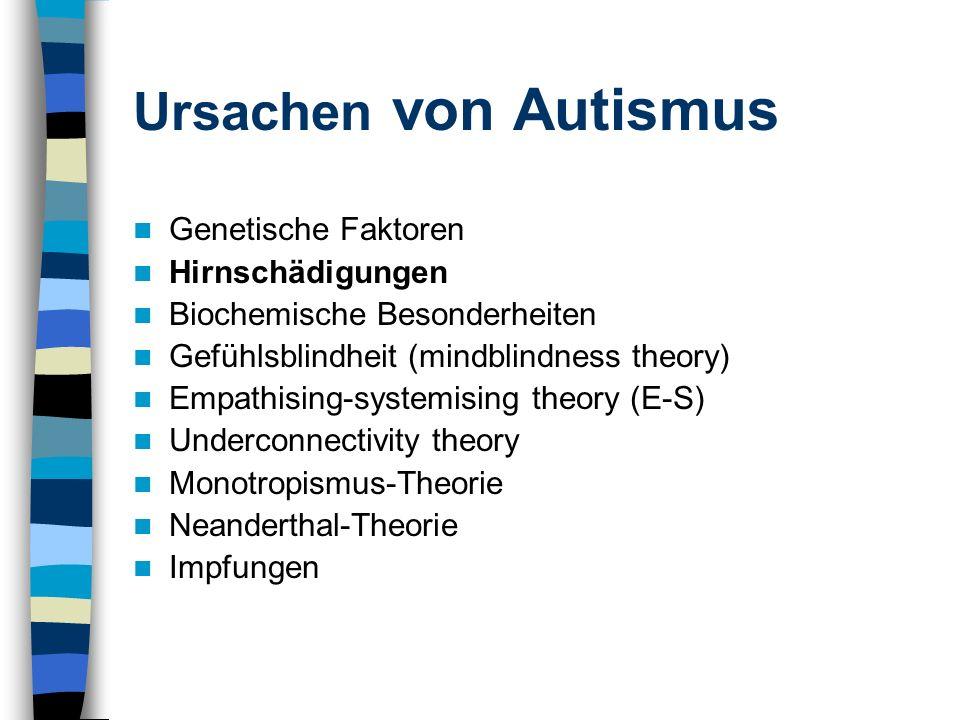 Ursachen von Autismus Genetische Faktoren Hirnschädigungen Biochemische Besonderheiten Gefühlsblindheit (mindblindness theory) Empathising-systemising