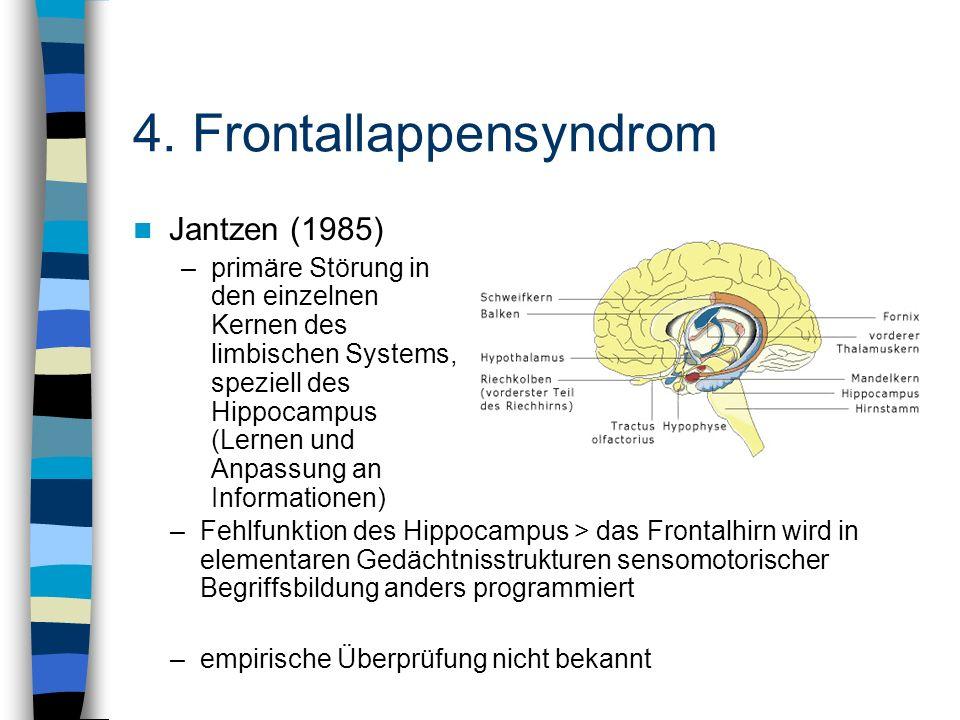 Jantzen (1985) –primäre Störung in den einzelnen Kernen des limbischen Systems, speziell des Hippocampus (Lernen und Anpassung an Informationen) –Fehl