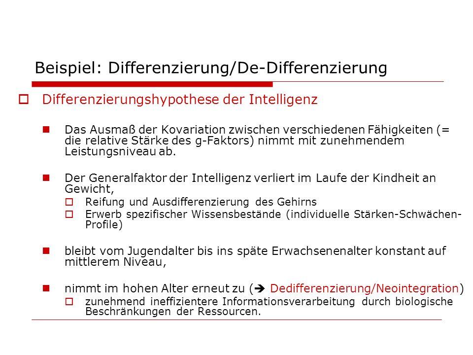 Beispiel: Differenzierung/De-Differenzierung Differenzierungshypothese der Intelligenz Das Ausmaß der Kovariation zwischen verschiedenen Fähigkeiten (
