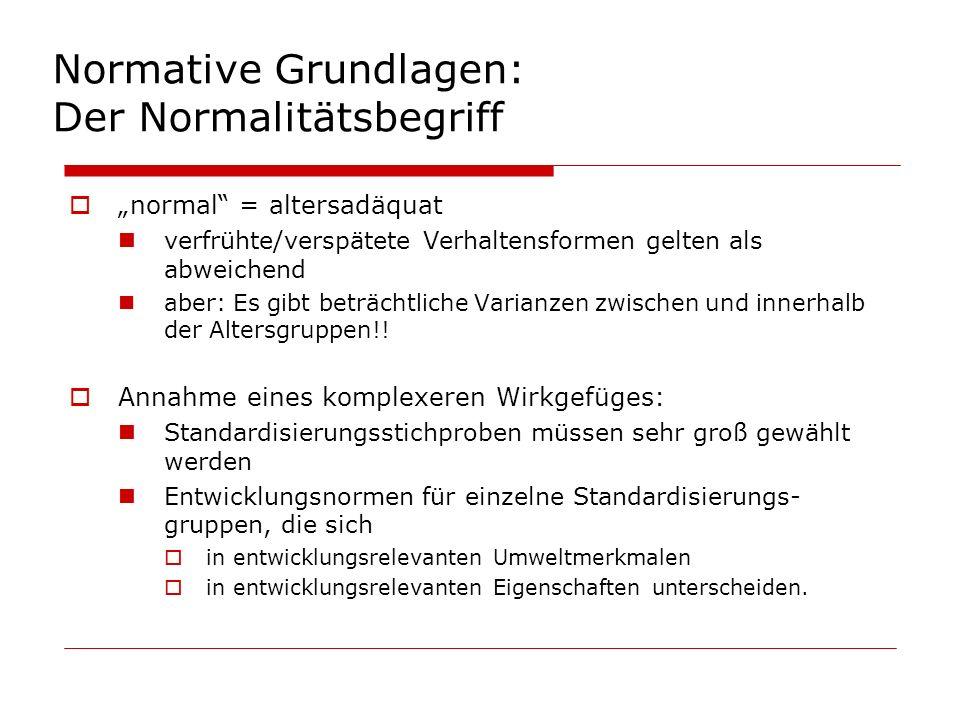 Normative Grundlagen: Der Normalitätsbegriff normal = altersadäquat verfrühte/verspätete Verhaltensformen gelten als abweichend aber: Es gibt beträcht