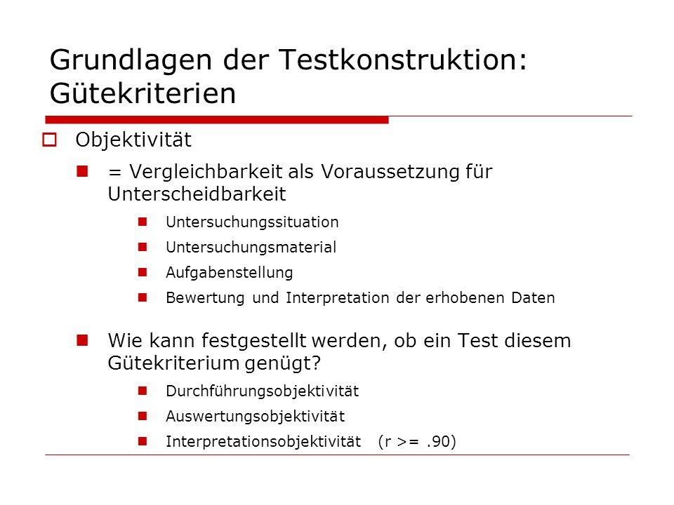 Grundlagen der Testkonstruktion: Gütekriterien Objektivität = Vergleichbarkeit als Voraussetzung für Unterscheidbarkeit Untersuchungssituation Untersu
