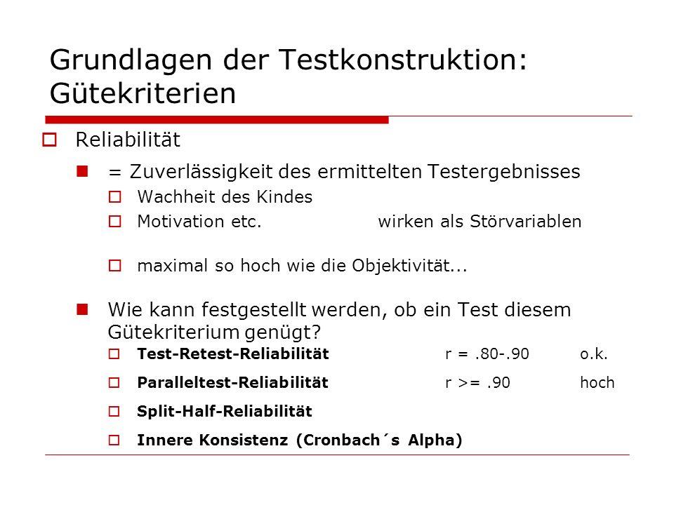 Grundlagen der Testkonstruktion: Gütekriterien Reliabilität = Zuverlässigkeit des ermittelten Testergebnisses Wachheit des Kindes Motivation etc.wirke