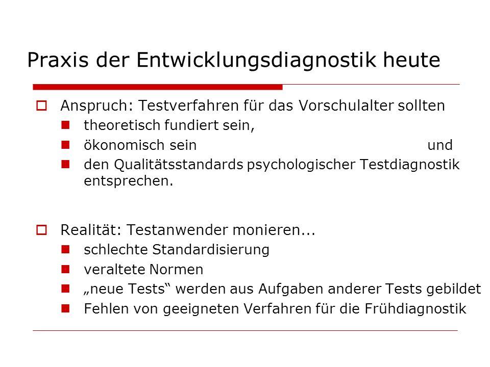 Praxis der Entwicklungsdiagnostik heute Anspruch: Testverfahren für das Vorschulalter sollten theoretisch fundiert sein, ökonomisch seinund den Qualit