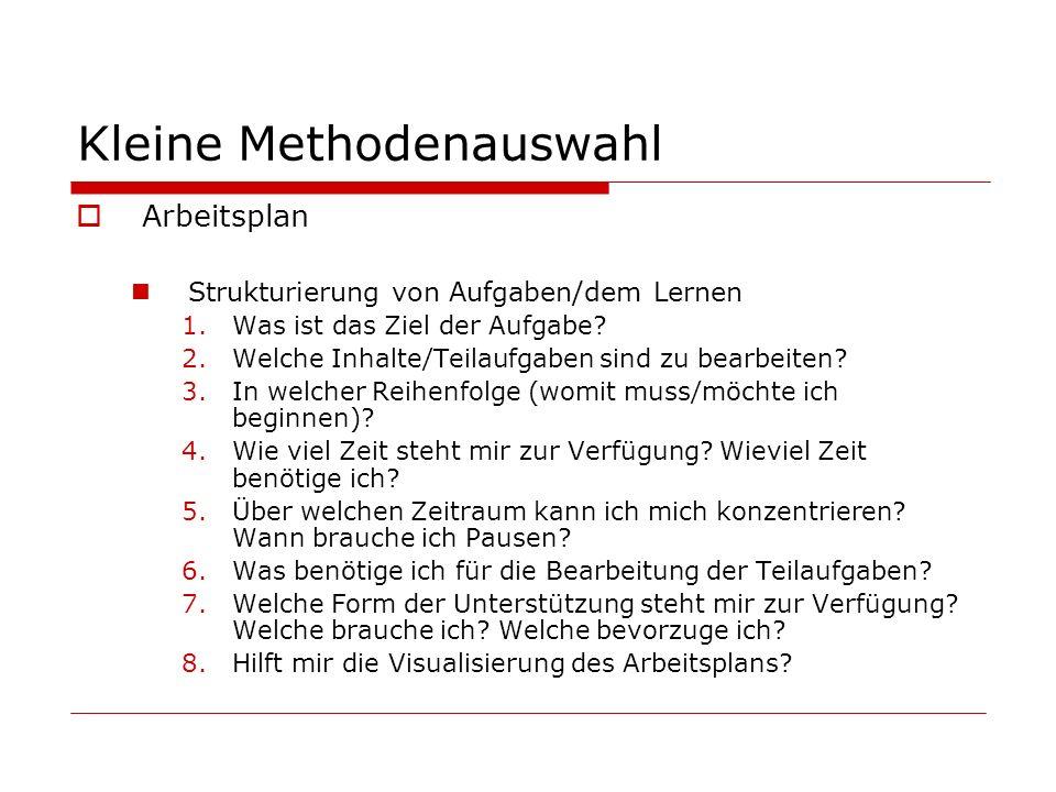 Kleine Methodenauswahl Arbeitsplan Strukturierung von Aufgaben/dem Lernen 1.Was ist das Ziel der Aufgabe? 2.Welche Inhalte/Teilaufgaben sind zu bearbe