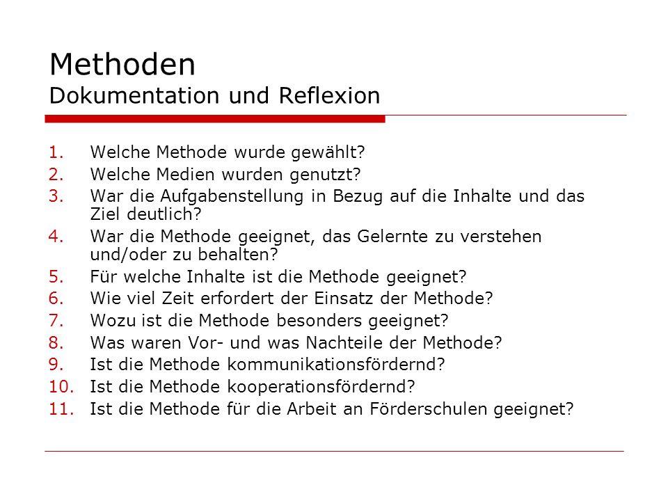 Methoden Dokumentation und Reflexion 1.Welche Methode wurde gewählt? 2.Welche Medien wurden genutzt? 3.War die Aufgabenstellung in Bezug auf die Inhal