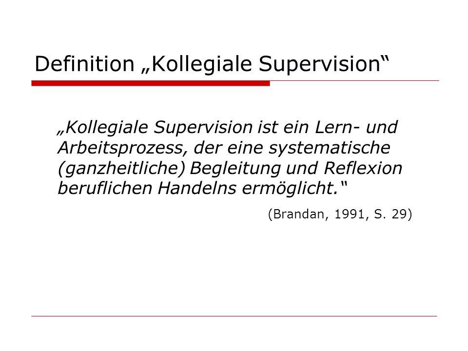 Definition Kollegiale Supervision Kollegiale Supervision ist ein Lern- und Arbeitsprozess, der eine systematische (ganzheitliche) Begleitung und Refle