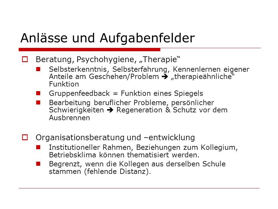 Anlässe und Aufgabenfelder Beratung, Psychohygiene, Therapie Selbsterkenntnis, Selbsterfahrung, Kennenlernen eigener Anteile am Geschehen/Problem ther