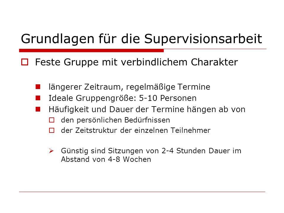 Grundlagen für die Supervisionsarbeit Feste Gruppe mit verbindlichem Charakter längerer Zeitraum, regelmäßige Termine Ideale Gruppengröße: 5-10 Person