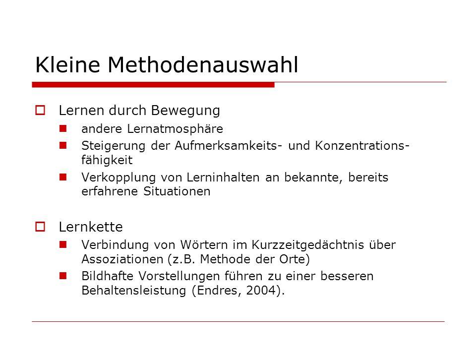 Kleine Methodenauswahl Arbeitsplan Strukturierung von Aufgaben/dem Lernen 1.Was ist das Ziel der Aufgabe.