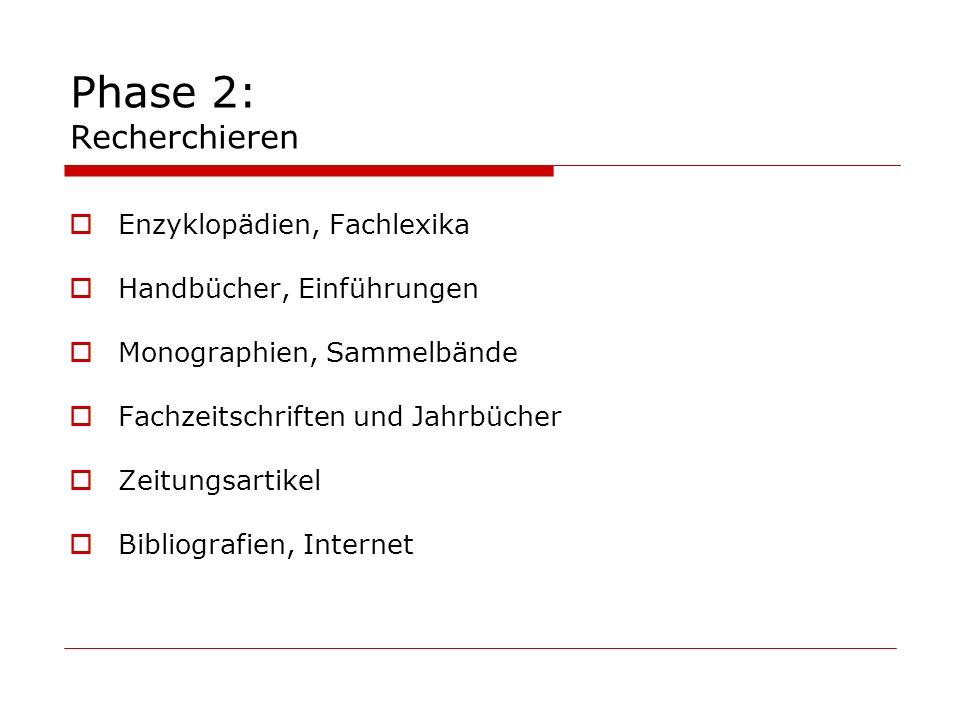 Phase 2: Recherchieren Enzyklopädien, Fachlexika Handbücher, Einführungen Monographien, Sammelbände Fachzeitschriften und Jahrbücher Zeitungsartikel B