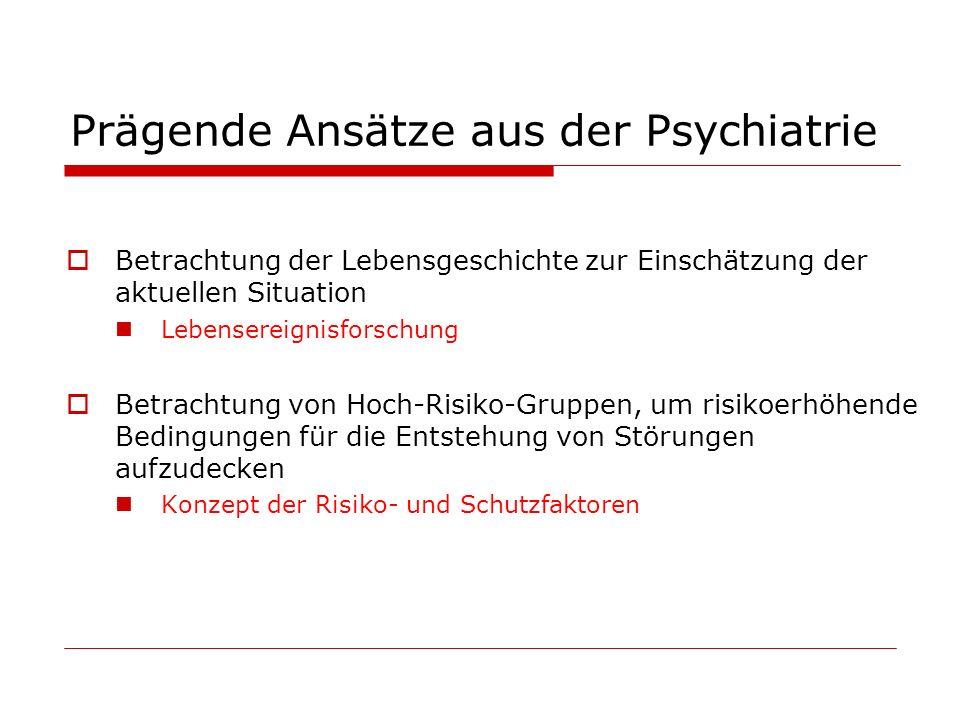 Prägende Ansätze aus der Psychiatrie Betrachtung der Lebensgeschichte zur Einschätzung der aktuellen Situation Lebensereignisforschung Betrachtung von