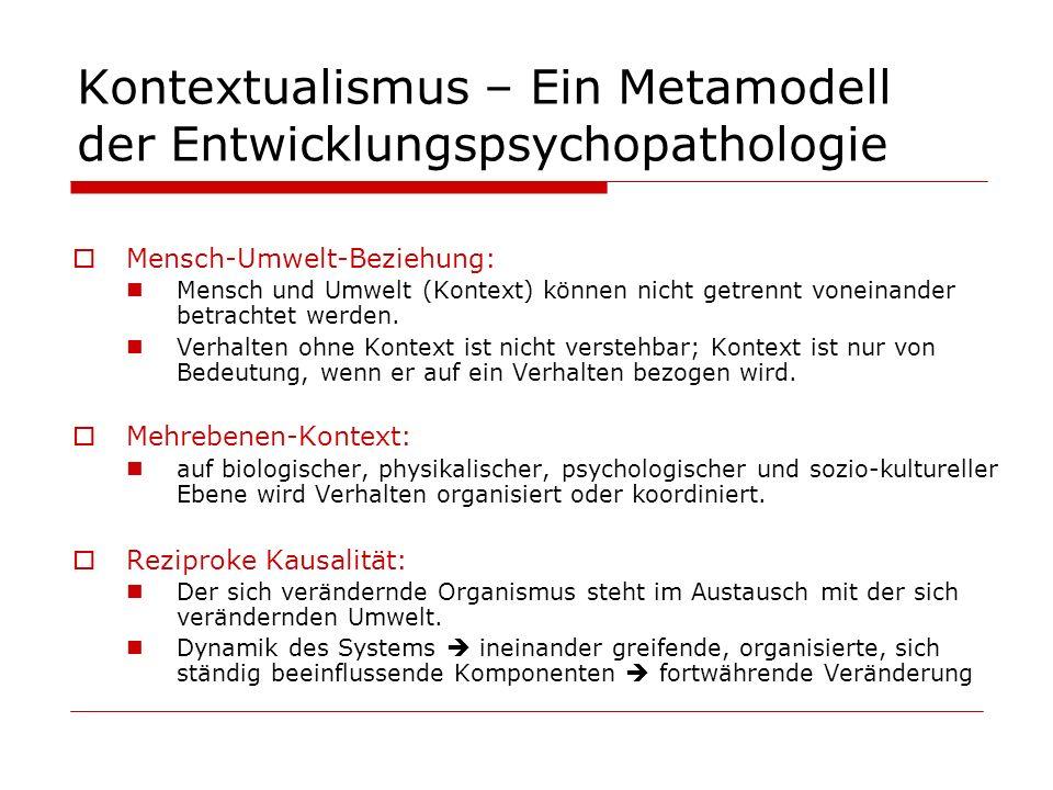 Kontextualismus – Ein Metamodell der Entwicklungspsychopathologie Mensch-Umwelt-Beziehung: Mensch und Umwelt (Kontext) können nicht getrennt voneinand