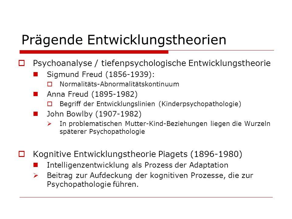 Prägende Entwicklungstheorien Psychoanalyse / tiefenpsychologische Entwicklungstheorie Sigmund Freud (1856-1939): Normalitäts-Abnormalitätskontinuum A