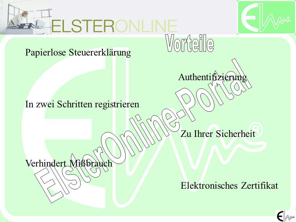 Papierlose Steuererklärung Authentifizierung In zwei Schritten registrieren Zu Ihrer Sicherheit Verhindert Mißbrauch Elektronisches Zertifikat